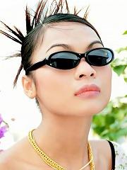 Glamour Thai model Tailynn shows off her spikey hair
