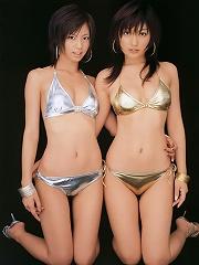 Two alluring gravure idol beauties showing off in their bikini