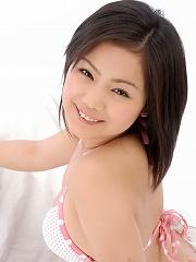 Cutie Rion Sakamoto in a pink and white polka dot bikini