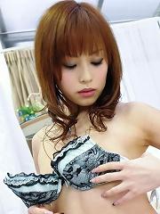 Sweet Miina Yoshihara toying her pretty pink Japanese pussy