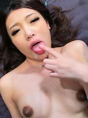 Nasty Japanese slut Ibuki squirts her juice across the room